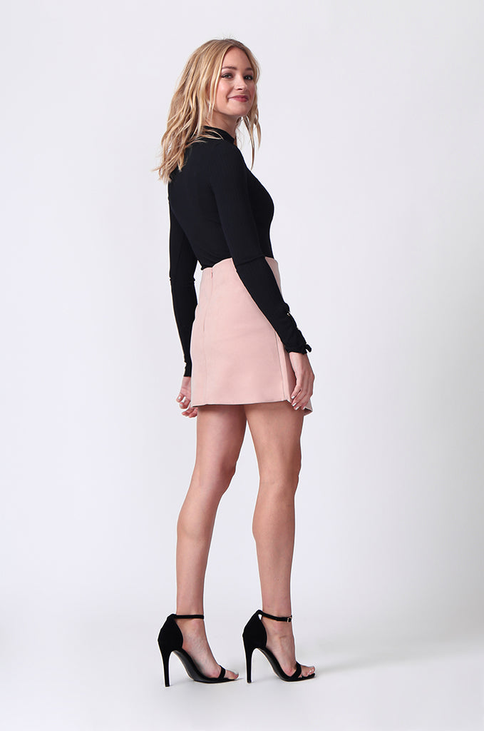 SJ0364-PINK LACE UP FRONT MINI SKIRT view 4