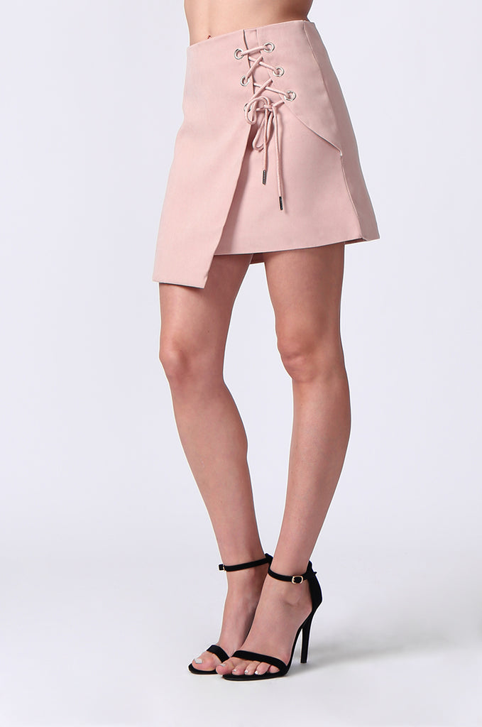 SJ0364-PINK LACE UP FRONT MINI SKIRT view 5