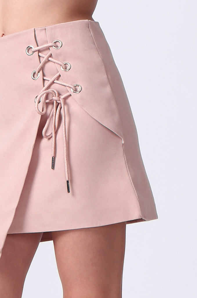 SJ0364-PINK LACE UP FRONT MINI SKIRT view 6