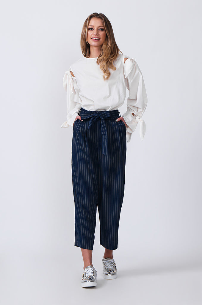 SJ0366-BLUE TIE BELT STRIPE CULOTTES view 3