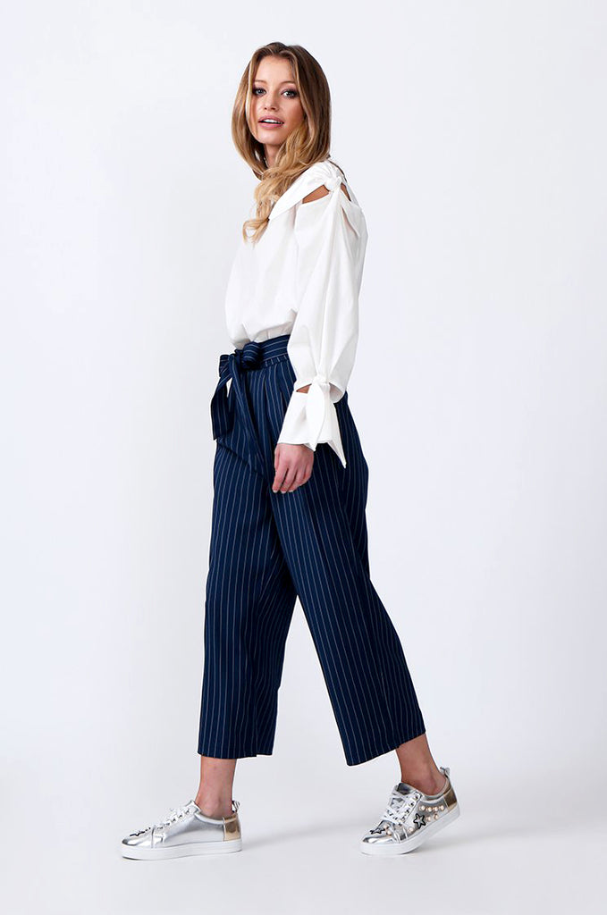 SJ0366-BLUE TIE BELT STRIPE CULOTTES