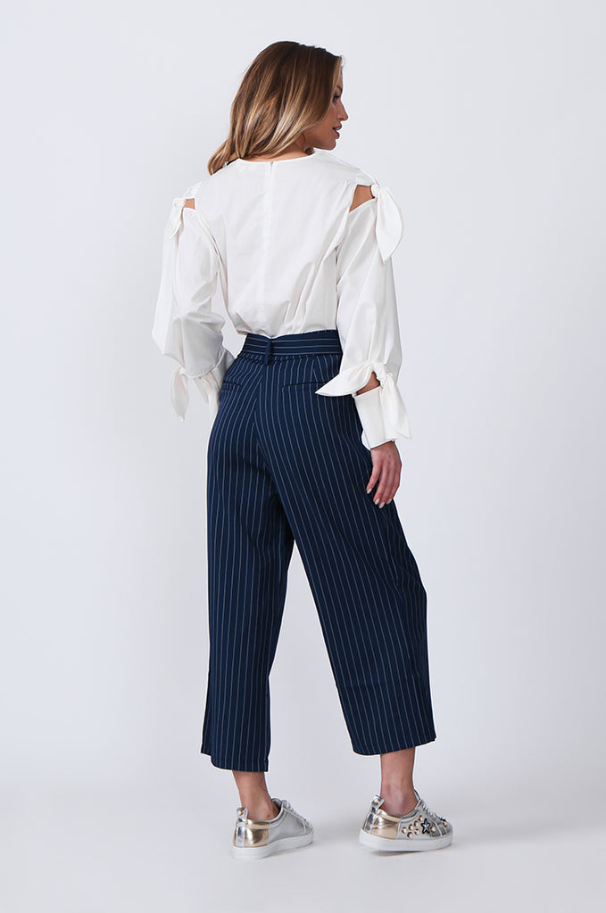SJ0366-BLUE TIE BELT STRIPE CULOTTES view 4