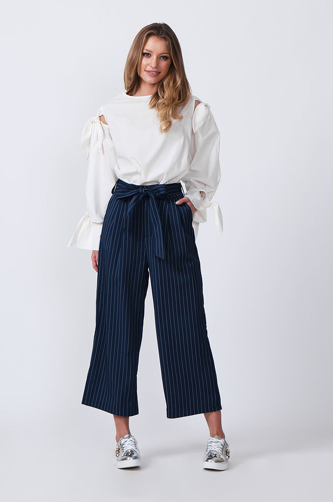 SJ0366-BLUE TIE BELT STRIPE CULOTTES view 2