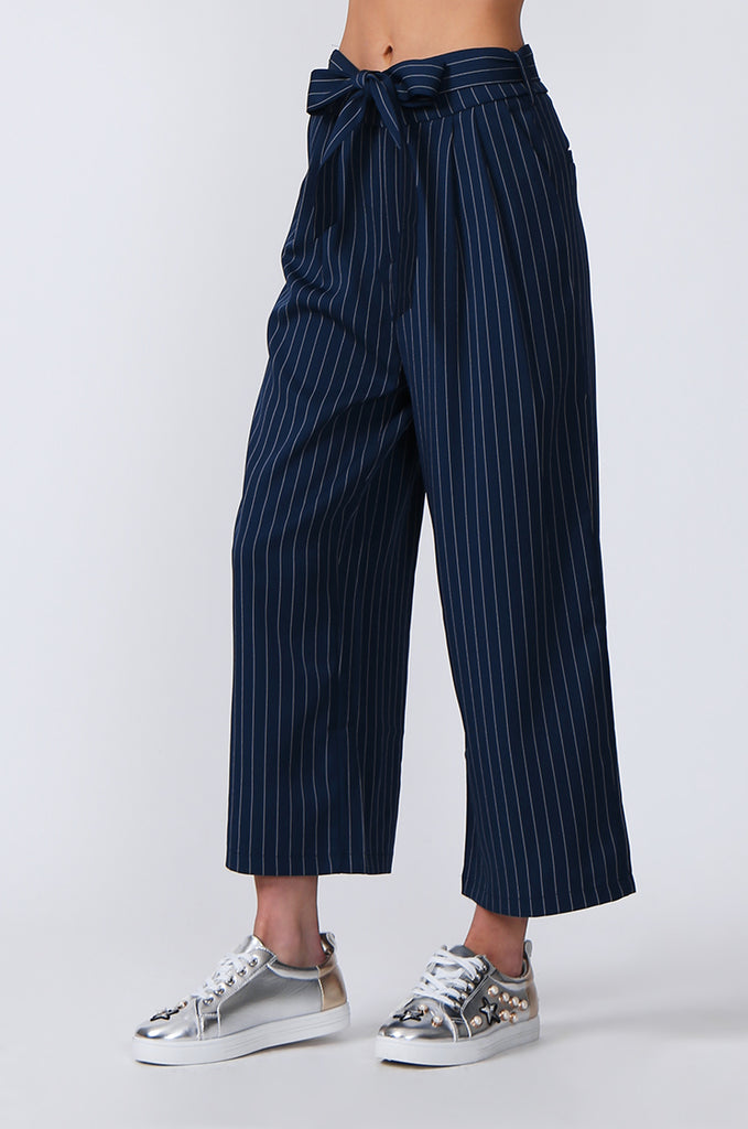 SJ0366-BLUE TIE BELT STRIPE CULOTTES view 5