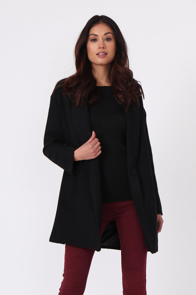 SJ0373-BLACK JACQUARD BELTED COAT view main view
