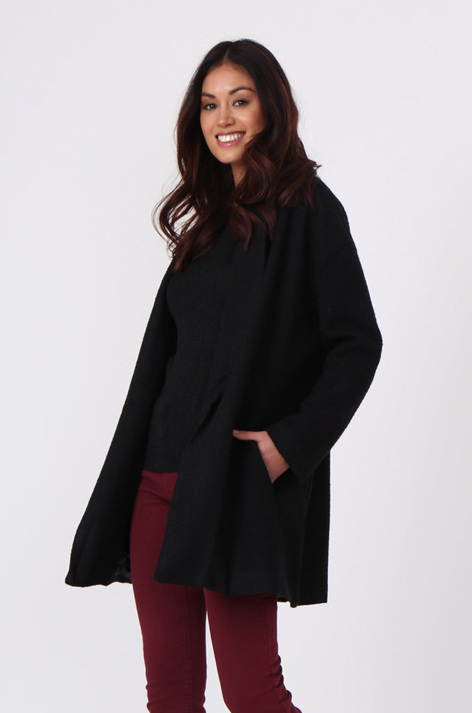 SJ0373-BLACK JACQUARD BELTED COAT view 2