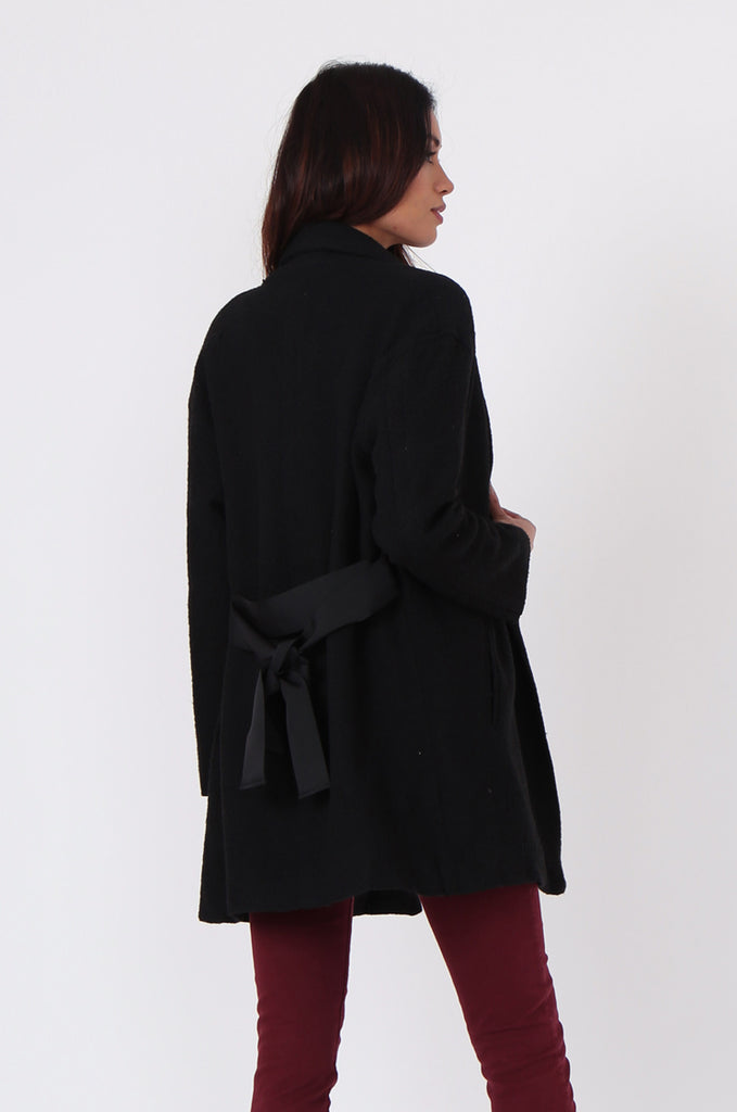 SJ0373-BLACK JACQUARD BELTED COAT view 3
