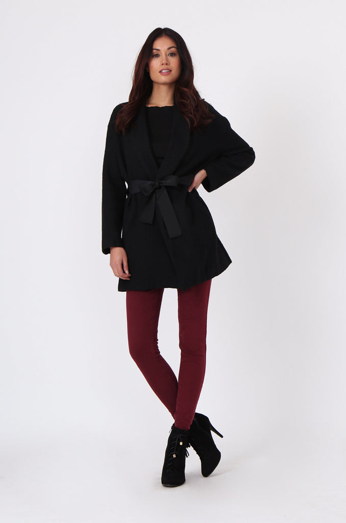 SJ0373-BLACK JACQUARD BELTED COAT view 4