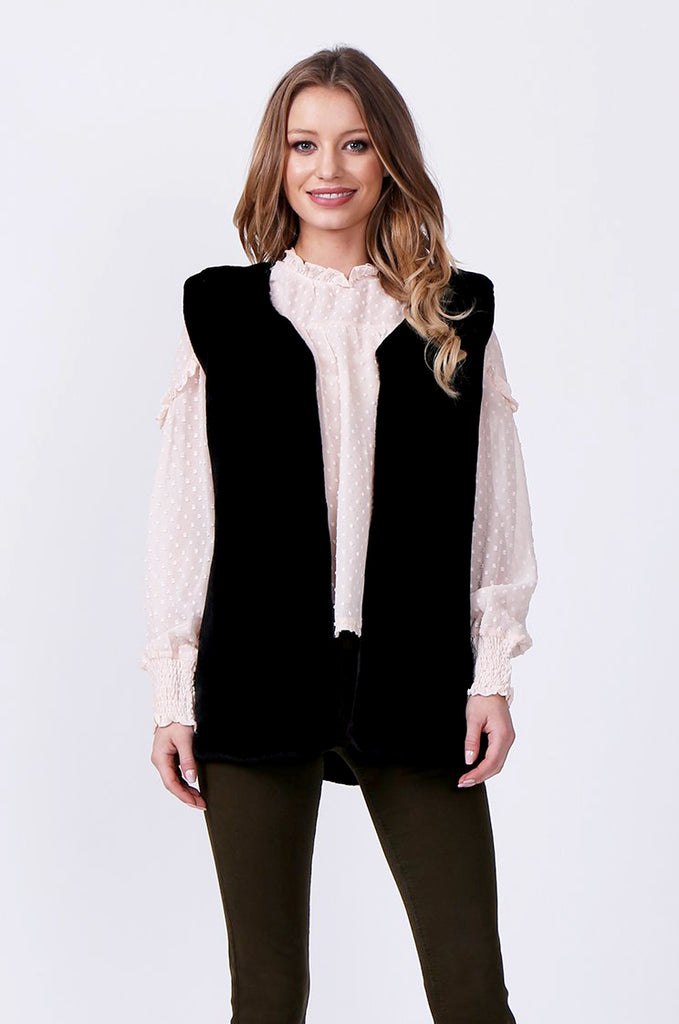 SJ0374-BLACK FAUX FUR GILET view 2