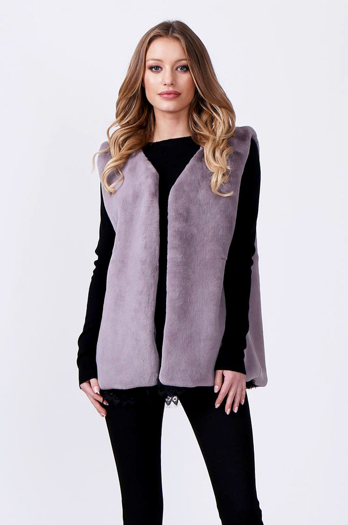 SJ0374-GREY FAUX FUR GILET view 2