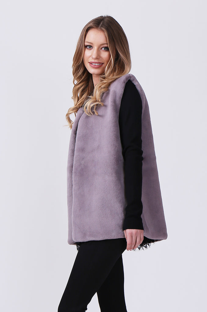 SJ0374-GREY FAUX FUR GILET view 3