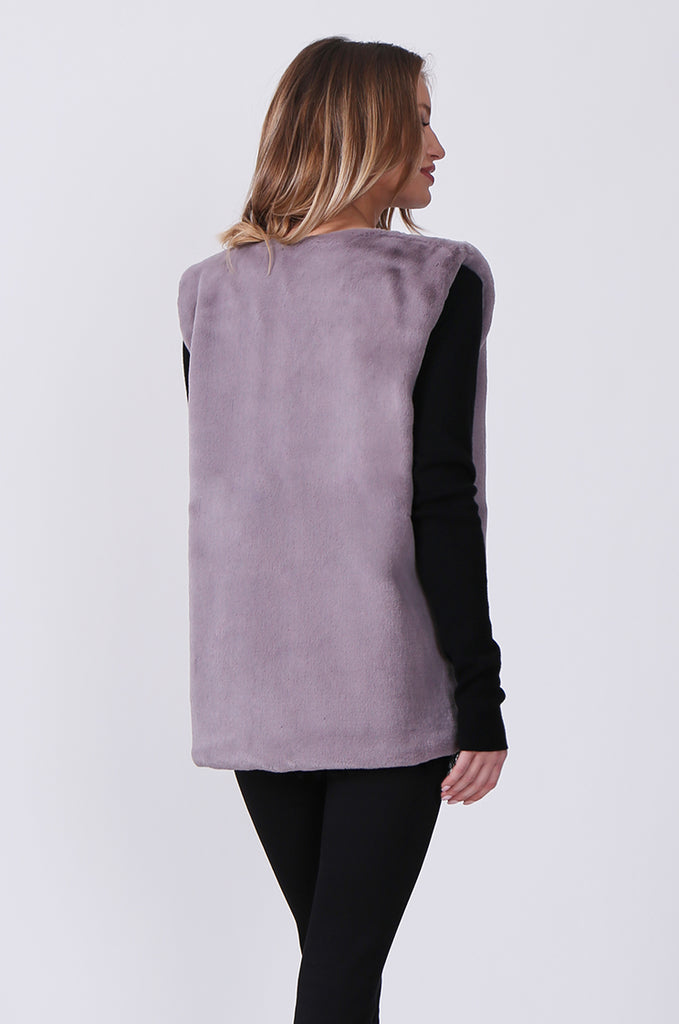 SJ0374-GREY FAUX FUR GILET view 4
