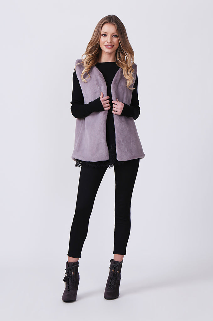 SJ0374-GREY FAUX FUR GILET view main view