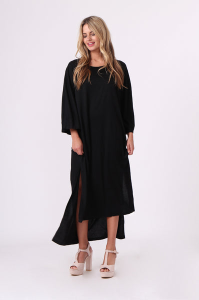 SPLIT SIDE 3/4 SLEEVE MAXI DRESS