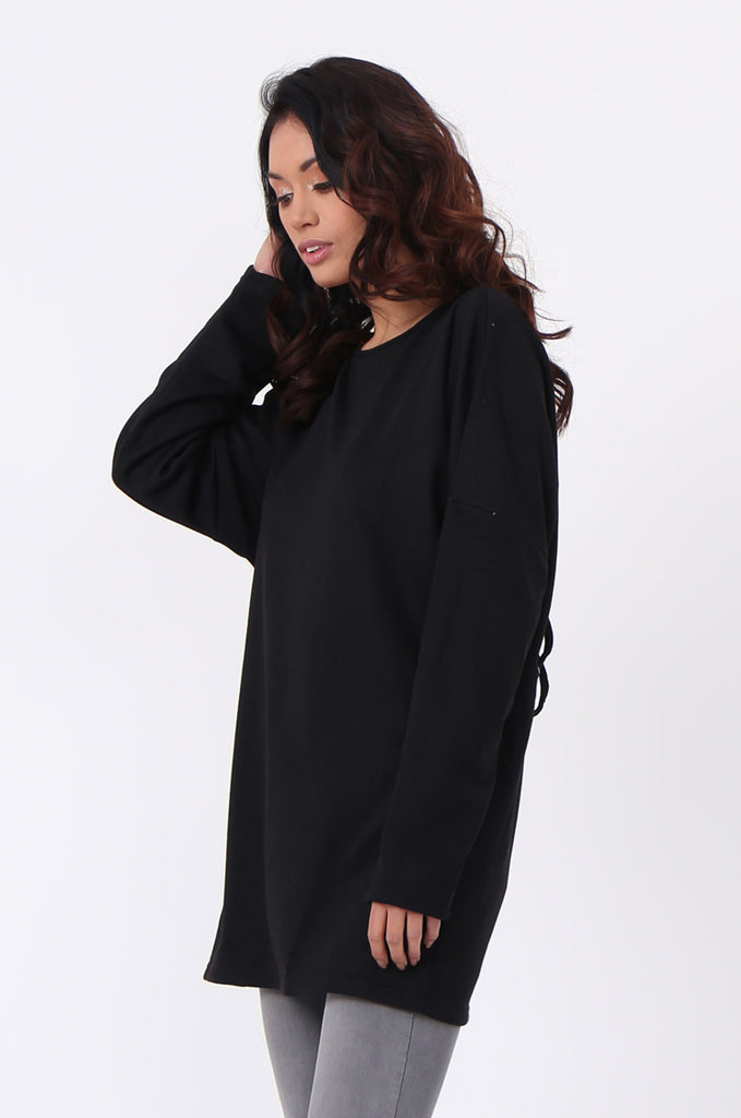 SJ0558-BLACK CROSS BACK EYELET DETAIL SWEATER view 2