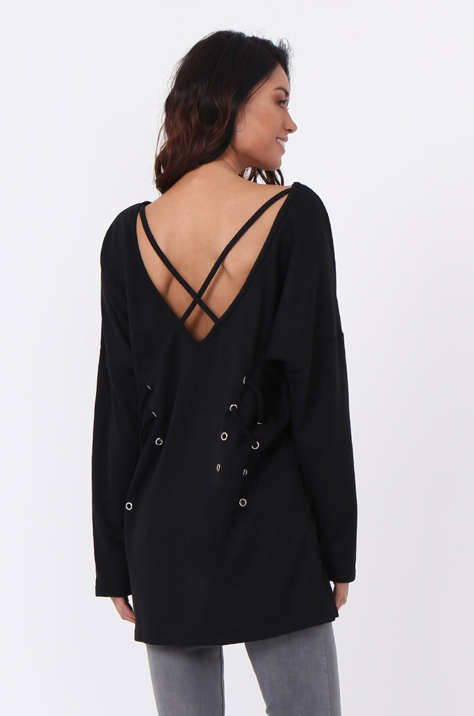 SJ0558-BLACK CROSS BACK EYELET DETAIL SWEATER view 3