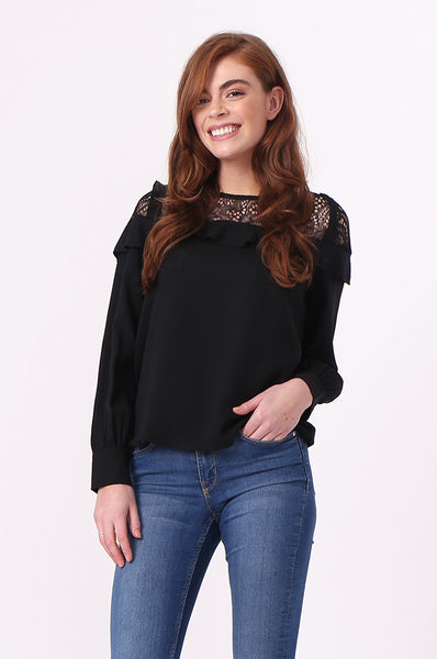 LACE TRIM RUFFLE BLOUSE