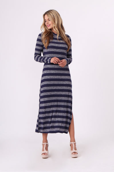 STRIPE RIB KNIT MAXI DRESS