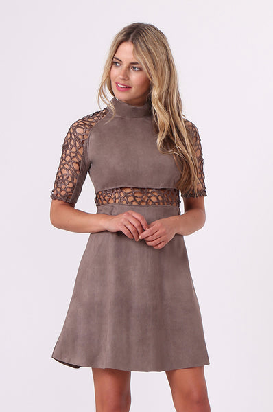 SUEDE & LACE DRESS
