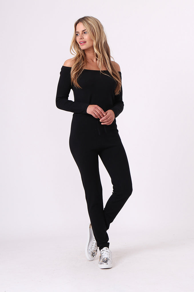 SJ0592-BLACK KNITTED JUMPSUIT