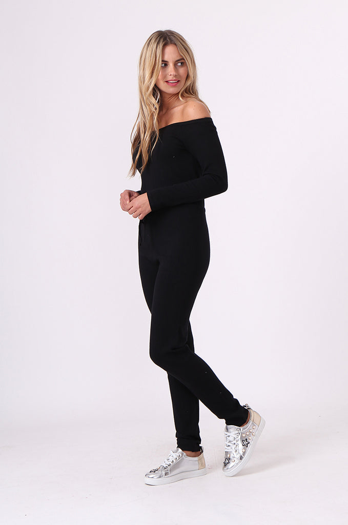 SJ0592-BLACK KNITTED JUMPSUIT view 2