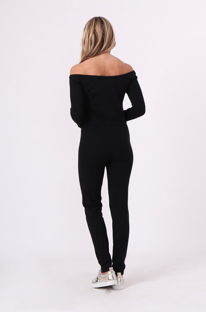 SJ0592-BLACK KNITTED JUMPSUIT view 3