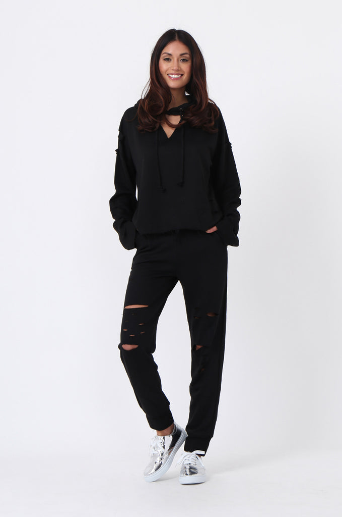 SJ0593-BLACK RIPPED SWEAT PANT