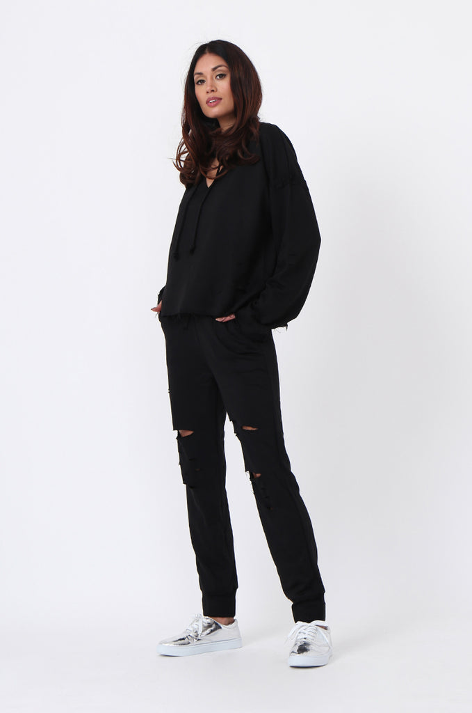 SJ0593-BLACK RIPPED SWEAT PANT view 2