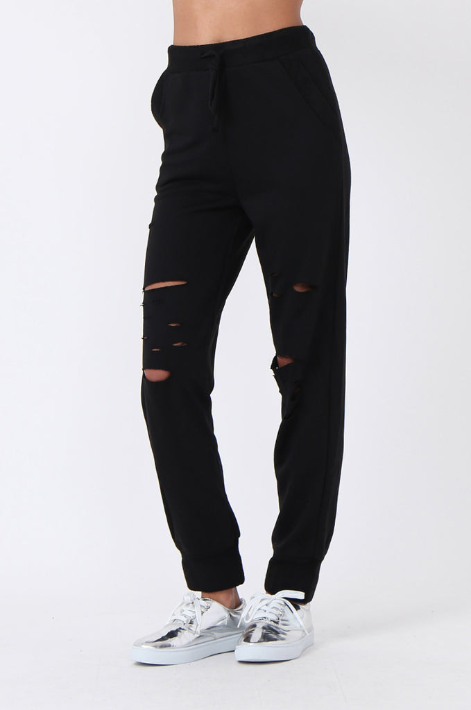 SJ0593-BLACK RIPPED SWEAT PANT view 4