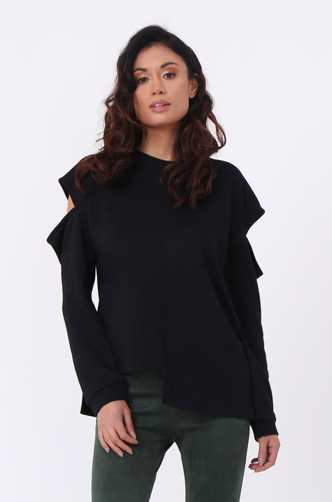 SJ0596-BLACK CUT OUT SHOULDER SWEATSHIRT