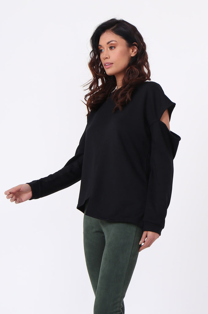 SJ0596-BLACK CUT OUT SHOULDER SWEATSHIRT view 2