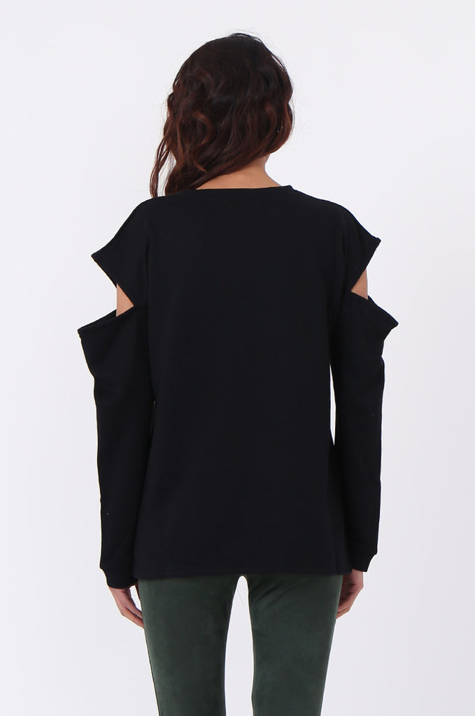 SJ0596-BLACK CUT OUT SHOULDER SWEATSHIRT view 3