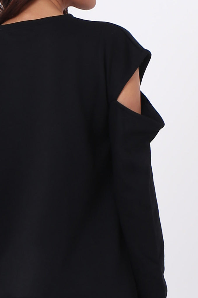 SJ0596-BLACK CUT OUT SHOULDER SWEATSHIRT view 4