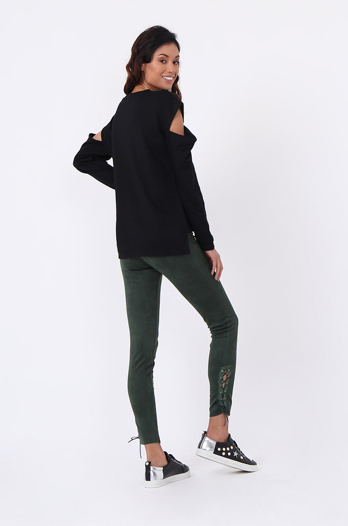 SJ0596-BLACK CUT OUT SHOULDER SWEATSHIRT view 5
