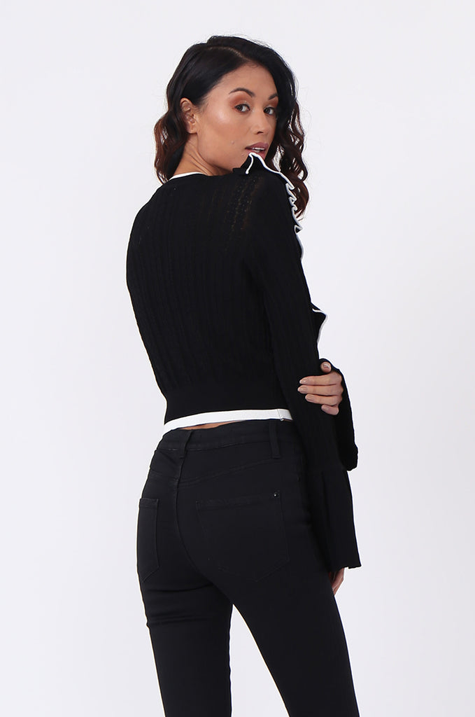 SJ0599-BLACK CONTRAST FRILL JUMPER view 2