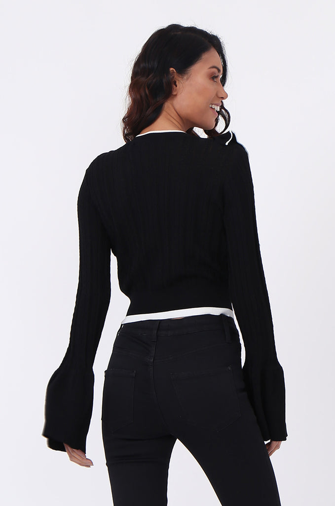 SJ0599-BLACK CONTRAST FRILL JUMPER view 3