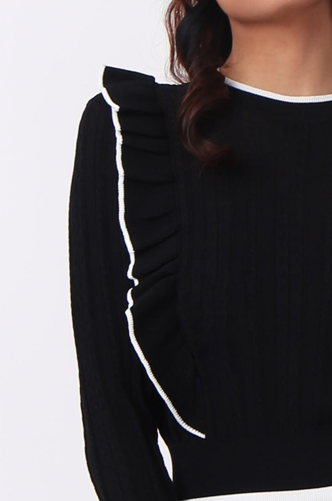 SJ0599-BLACK CONTRAST FRILL JUMPER view 5