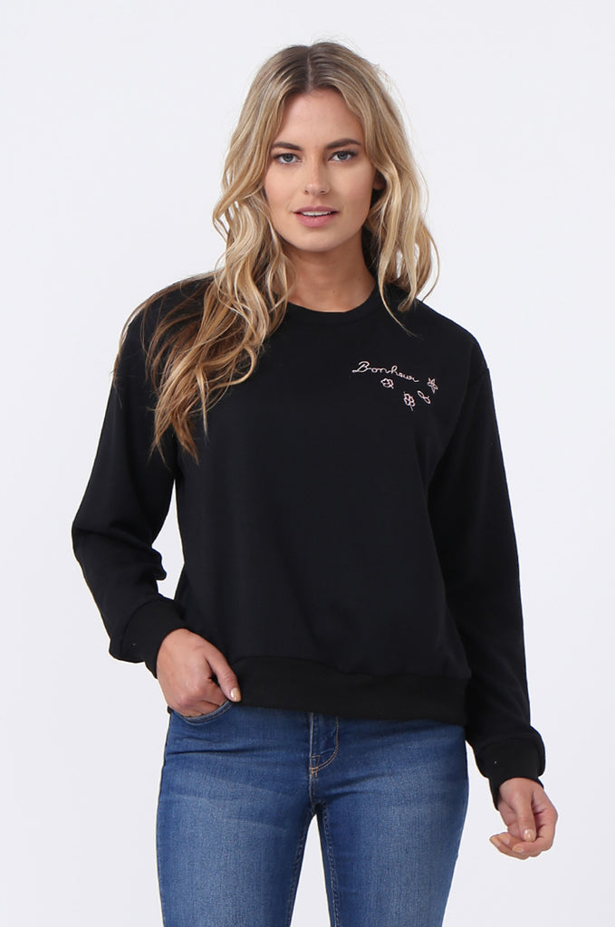 SJ0606-BLACK EMBROIDED CREW SWEAT SHIRT view main view