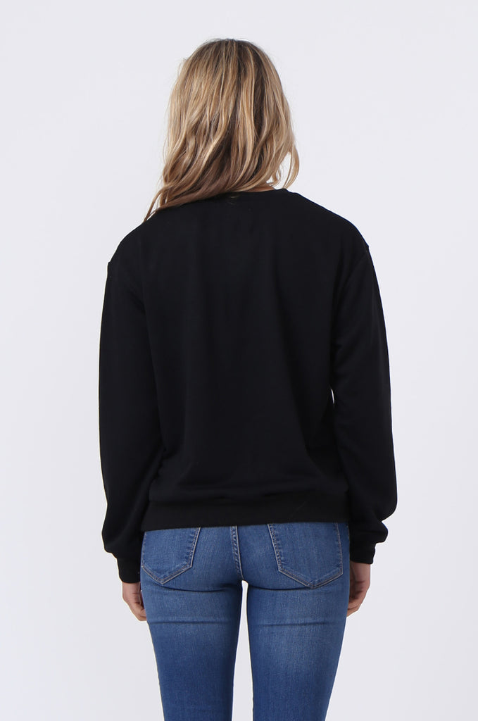 SJ0606-BLACK EMBROIDED CREW SWEAT SHIRT view 3