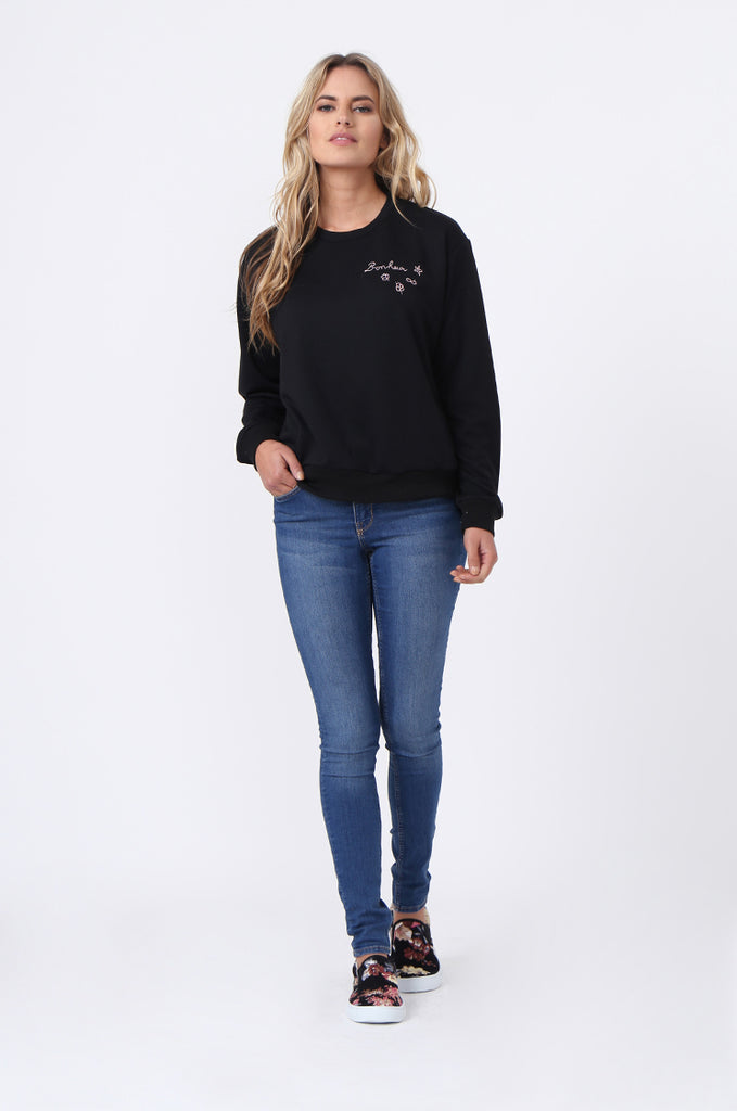 SJ0606-BLACK EMBROIDED CREW SWEAT SHIRT view 5