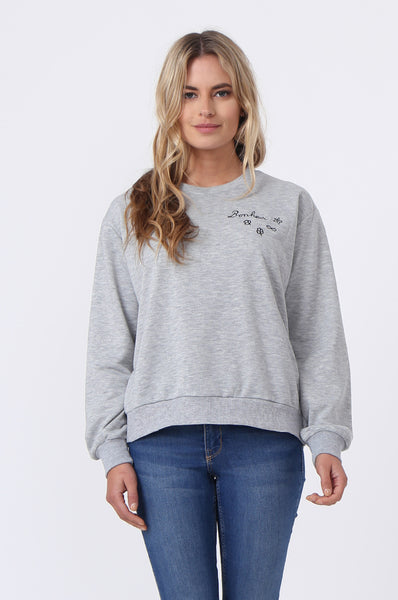 EMBROIDED CREW SWEAT SHIRT