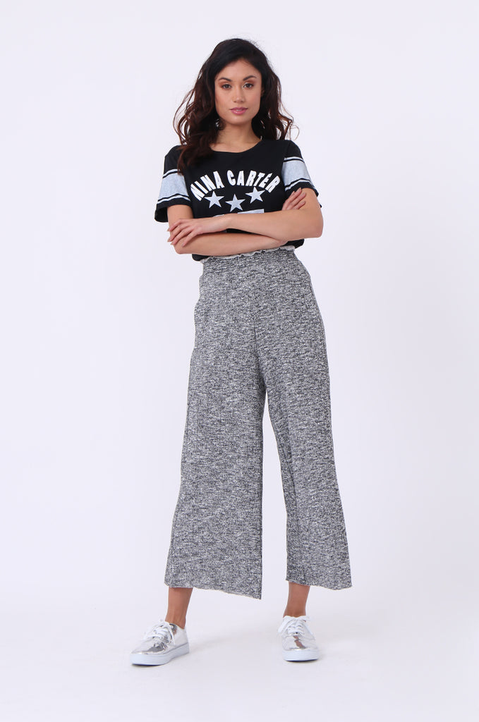 SJ0608-BLACK FLECK WIDE LEG SWEAT PANT