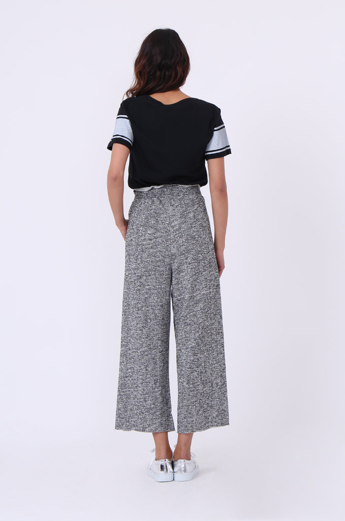 SJ0608-BLACK FLECK WIDE LEG SWEAT PANT view 3