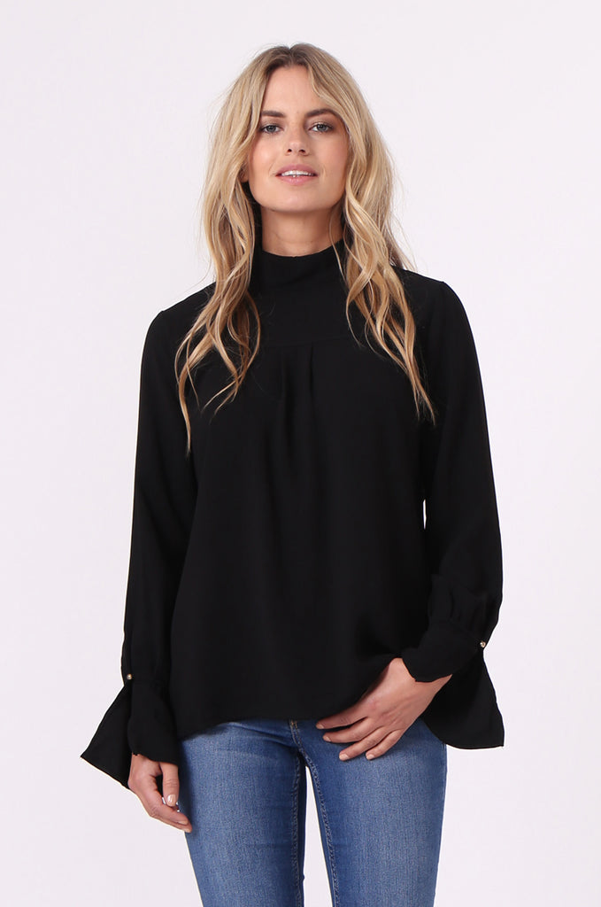 SJ0614-BLACK HIGH TIE BACK NECK PLEAT FRONT BLOUSE