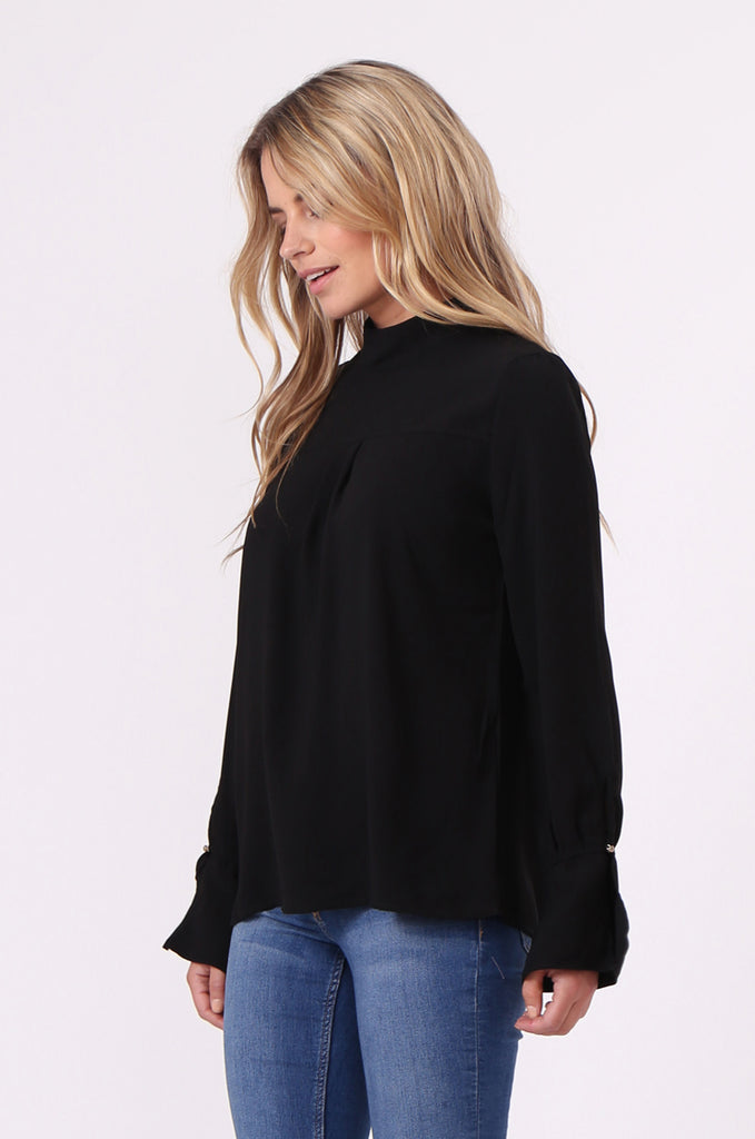 SJ0614-BLACK HIGH TIE BACK NECK PLEAT FRONT BLOUSE view 2