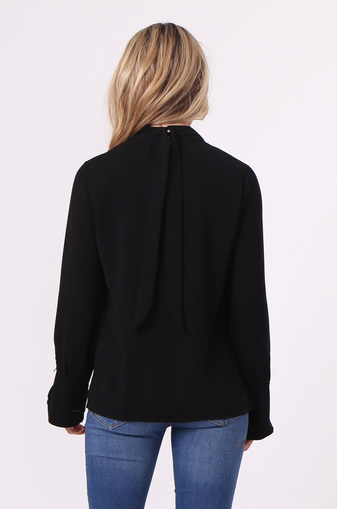 SJ0614-BLACK HIGH TIE BACK NECK PLEAT FRONT BLOUSE view 3
