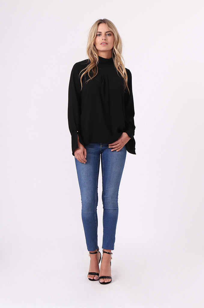 SJ0614-BLACK HIGH TIE BACK NECK PLEAT FRONT BLOUSE view 5