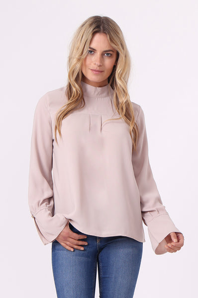 HIGH NECK FLARE SLEEVE BLOUSE