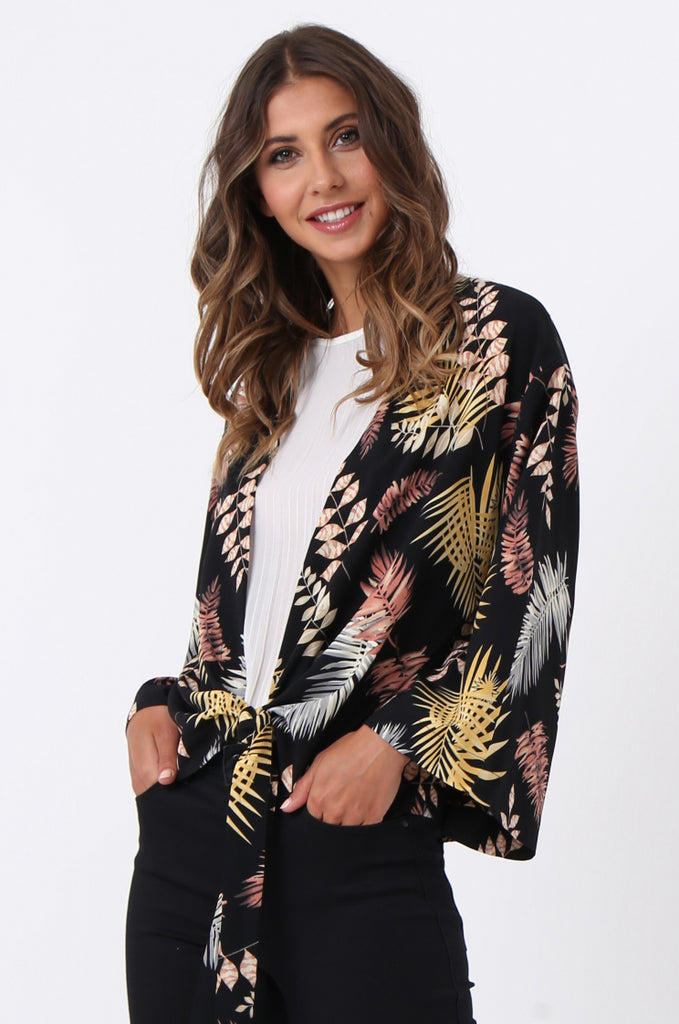 SJ1366-BLACK PALM PRINT TIE FRONT TOP