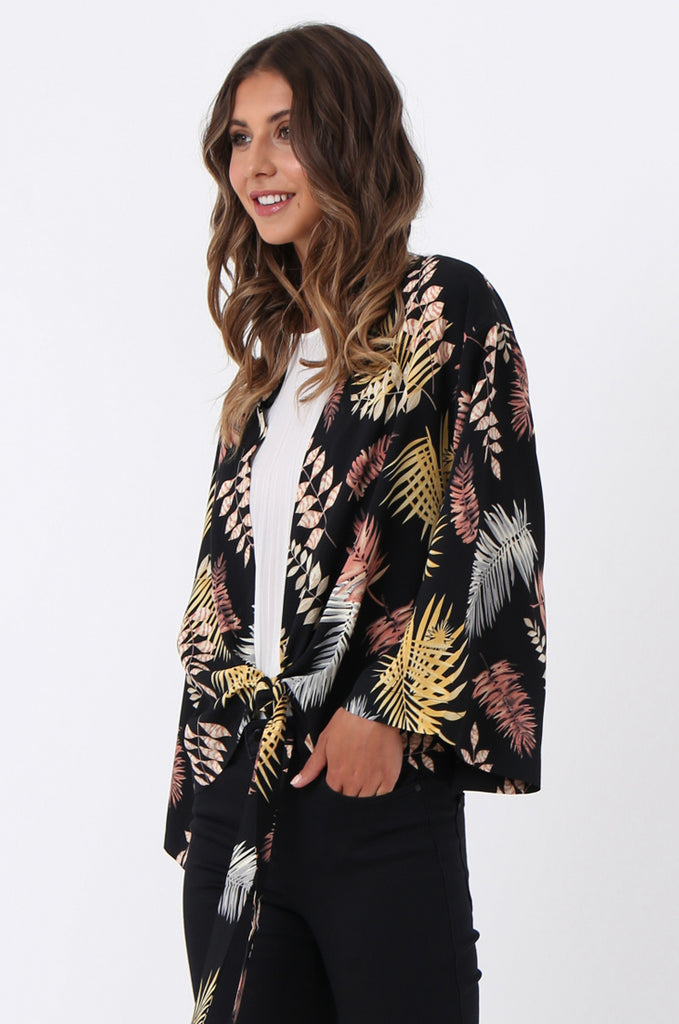 SJ1366-BLACK PALM PRINT TIE FRONT TOP view 2